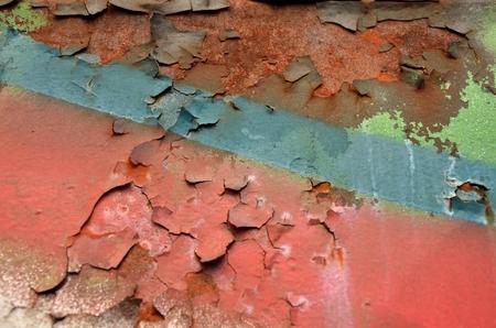 peeled, flaking, scaling paint on rust Stock Photo