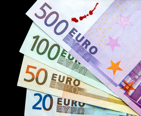 20 euro: Dirty Money Stock Photo
