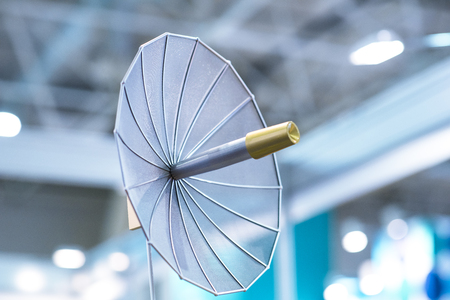 Satellite dish in the building. Stock Photo