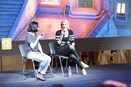 Moscow, Russia, moscow comic con 1 may, 2017, Alice Evans gives interviews.