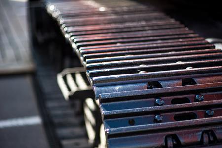 machinery: Close up shot of a caterpillar bulldozer.
