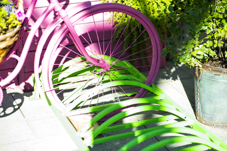 A purple bicycle on sunny day Stockfoto - 101730799