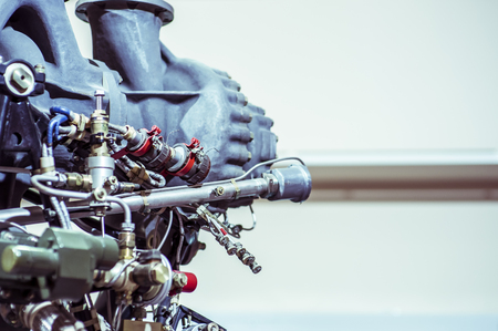 Detail of space rocket engine. Part of the rocket, close-up. Science and technology