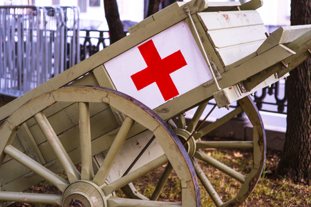 American western medical wagon. Ancient carriage to help the wounded military