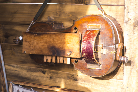 Medieval musical instruments hanging on a wooden wall
