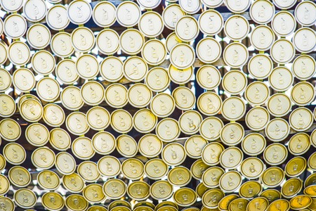 Close up of aluminum cans on a top view.