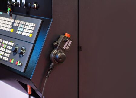 Touch screen control panel of modern industrial equipment. Selective focus.