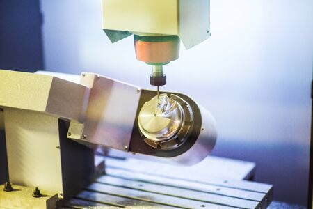 High precision carbide cutting tool grinding by CNC automatic grinding machine, High accuracy tool grinding process for industrial use. Stock Photo