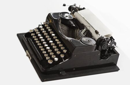 closeup of classic black typewriter, writing concept