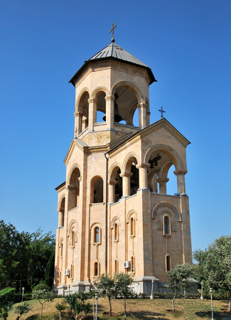 belfry: Belfry near Tbilisi cathedral bell tower designed. Stock Photo