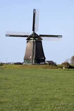 Dutch windmill and green gras photo