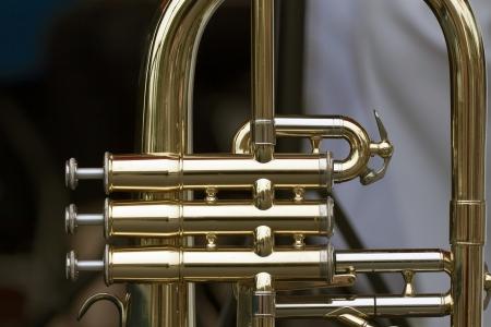 blaasinstrument: Detail van een blaasinstrument Stockfoto