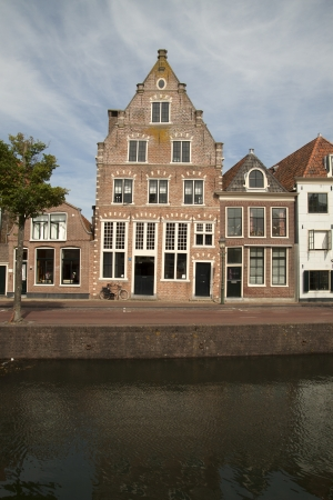 hoorn: Historical old house on the habour of the Dutch historic town Hoorn