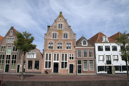 the row: Old house on the habour of the Dutch historic town Hoorn   Stock Photo