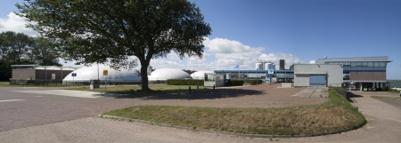 Panorama photo of a waterfactory building