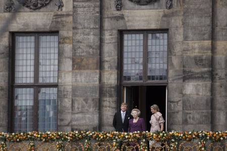 beatrix: AMSTERDAM - APR 30  King Willem-Alexander, Queen Maxima and Princess Beatrix from the balcony of the palace after the accession of the throne on April 30, 2013 in Amsterdam   Editorial