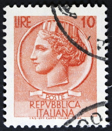 ITALY - CIRCA 1968  A stamp printed in Italy shows an Ancient coin of Syracuse, without inscription, from the series  Italy  Syracuse  , circa 1968  photo