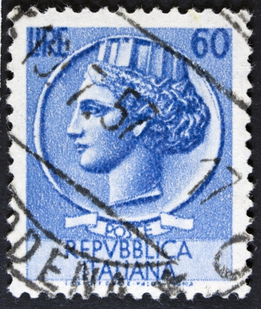 ITALY - CIRCA 1968  A stamp printed in Italy shows an Ancient coin of Syracuse, without inscription, from the series  Italy  Syracuse  , circa 1968