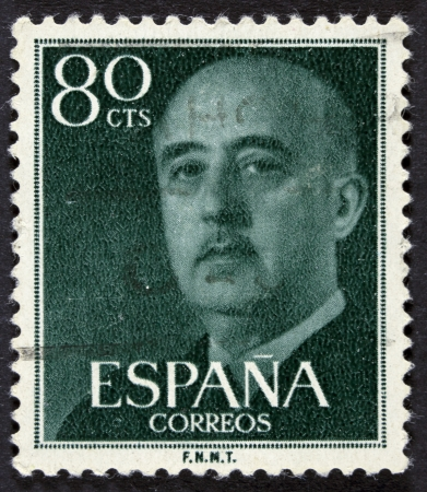 SPAIN - CIRCA 1955  A stamp printed in Spain shows Francisco Franco, circa 1955  photo