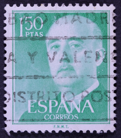 SPAIN - CIRCA 1955  A stamp printed in Spain shows Francisco Franco, circa 1955  Stock Photo