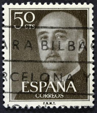 estampilla: SPAIN - CIRCA 1955  A stamp printed in Spain shows Francisco Franco, circa 1955  Editorial