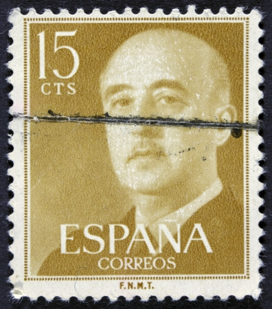 SPAIN - CIRCA 1955  A stamp printed in Spain shows Francisco Franco, circa 1955  Editorial