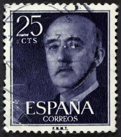 SPAIN - CIRCA 1955  A stamp printed in Spain shows Francisco Franco, circa 1955  Editorial