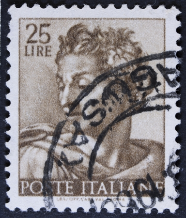 isaiah: ITALY - CIRCA 1961  A stamp printed in Italy shows a head of the  Isaiah   Michelangio , without inscription, from the series  Frescoes in the Sistine Chapel , circa 1961  Stock Photo