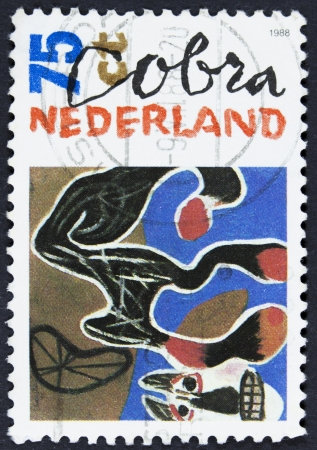NETHERLANDS - CIRCA 1987  a stamp printed in the Netherlands shows Fallen Horse, 1950, Painting by Constant, Artist Belonging to Cobra, circa 1987