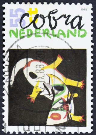 belonging: NETHERLANDS - CIRCA 1987  a stamp printed in the Netherlands shows Fallen Horse, 1950, Painting by Constant, Artist Belonging to Cobra, circa 1987