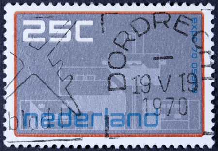 commemorate: NETHERLANDS - CIRCA 1970  a stamp printed in the Netherlands shows Dutch Pavilion, EXPO 70, Osaka, Japan, circa 1970