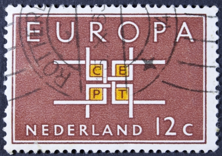 orange nassau: NETHERLANDS - CIRCA 1963  A stamp printed in the Netherlands from the  Europa  issue shows Co-operation, circa 1963