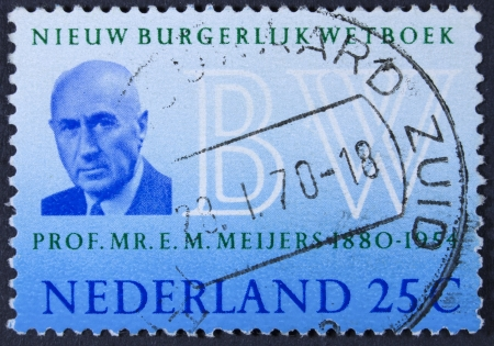 eduard: NETHERLANDS - CIRCA 1970  A stamp printed in the Netherlands issued for the introduction of New Netherlands Civil Code shows Professor Eduard M  Meijers  author of Burgerlijk Wetboek , circa 1970