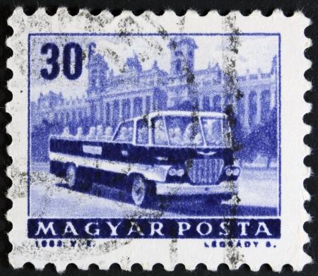 motorbus: HUNGARY - CIRCA 1963  A stamp printed in Hungary shows bus, circa 1963