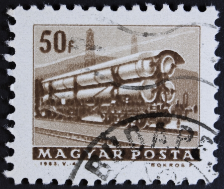 motorbus: HUNGARY - CIRCA 1963  A stamp printed in Hungary shows train, circa 1963  Stock Photo