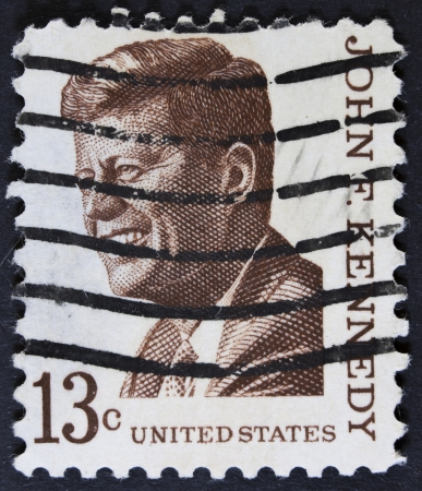 UNITED STATES OF AMERICA - CIRCA 1967 a stamp printed in the United States of America shows John F  Kennedy, 35th President of USA 1961-1963, circa 1967