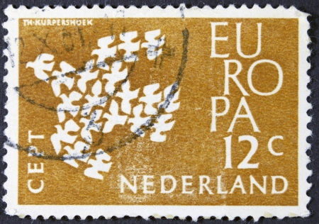 orange nassau: NETHERLANDS - CIRCA 1961  A stamp printed in the Netherlands from the  Europa  issue shows Europa dove, circa 1961