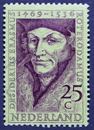 humanist: Holland - CIRCA 1990  A stamp printed in the Netherlands shows Erasmus of Rotterdam, circa 1990