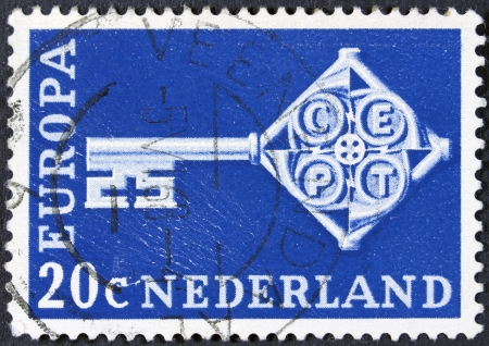 orange nassau: NETHERLANDS - CIRCA 1968  A stamp printed in the Netherlands from the  Europa  issue shows Europa Key, circa 1968