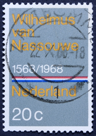 anthem: NETHERLANDS - CIRCA 1968  A stamp printed in the Netherlands issued for the 400th anniversary of Dutch National Anthem shows Wilhelmus van Nassouwe, circa 1968
