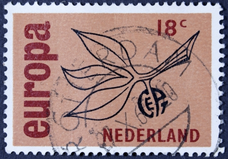 stempeln: NETHERLANDS - CIRCA 1965  A stamp printed in the Netherlands from the Europa issue shows Europa Sign, circa 1965   Stock Photo