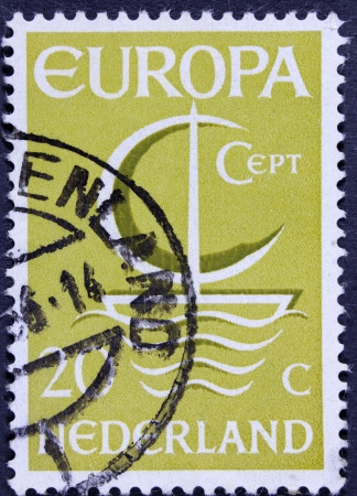 orange nassau: NETHERLANDS - CIRCA 1966  A stamp printed in the Netherlands from the  Europa  issue shows Europa ship, circa 1966