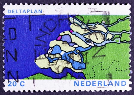 shorten: NETHERLANDS - CIRCA 1972  a stamp printed in the Netherlands shows Map of Delta, Delta Plan Project to shorten the Coastline, circa 1972