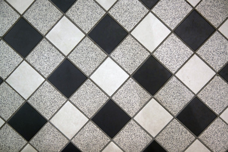 Black white and gray checkered floor tiles - Background image   photo