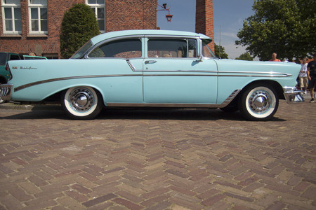 bel air: MEDEMBLIK, THE NETHERLANDS - JULY 27,2014: view of a light blue Chevrolet bel air 1956 on a oldtimer show on july 27,2014 in Medemblik.