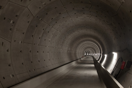 tunneling: Subway tunnel under construction of the north south subway line of Amsterdam. Stock Photo