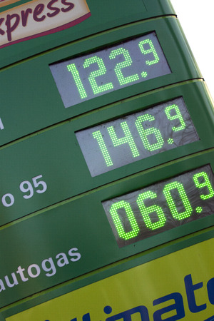 enkhuizen: ENKHUIZEN, THE NETHERLANDS - 4 FEBRUARY 2015: BP gas station prices Oil based fuel prices have recently dropped, .on february 4, 2015, in Bovenkarspel, the Netherlands.