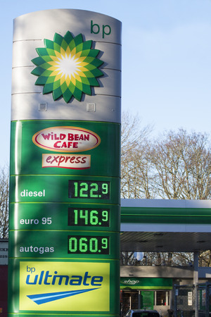 bp: ENKHUIZEN, THE NETHERLANDS - 4 FEBRUARY 2015: BP gas station prices Oil based fuel prices have recently dropped, .on february 4, 2015, in Bovenkarspel, the Netherlands.