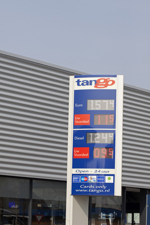 bp: HORN, HOLLAND - APRIL 10, 2015: Tango gas station prices Oil prices have recently dropped based fuel