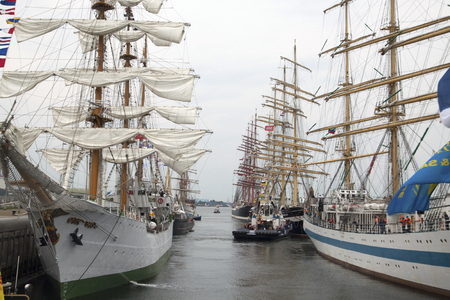 ijmuiden: Port of IJmuiden, The Netherlands - August 23, 2015: Tall ships in the locks of IJmuiden after the five-yearly event sail
